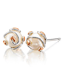 Clogau Sterling Silver & Rose Gold 'Tree of Life' Caged Pearl Earrings