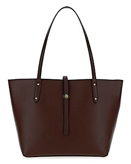 Oxblood Turnlock Detail Tote Bag