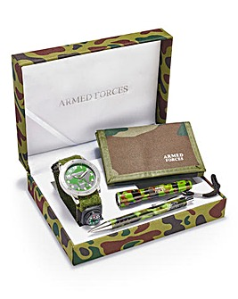 Gents Khaki Armed Forces Watch Set