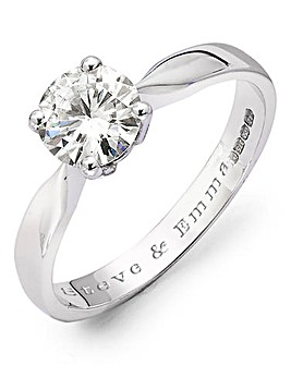 Moissanite 9 Carat Gold Personalised 1 Carat Solitaire Ring