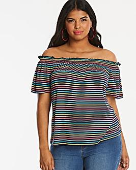 Oasis Curve Stripe Bardot Top