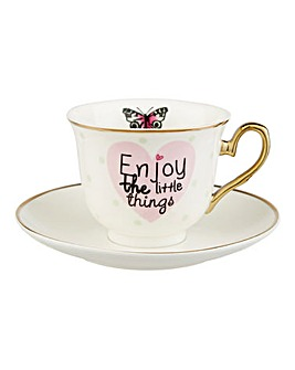 Enjoy the Little Things Cup and Saucer