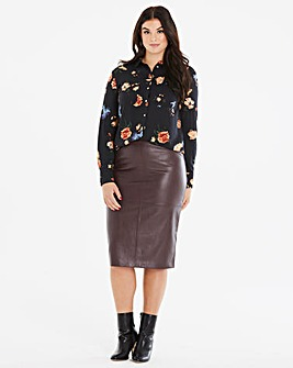 Oasis Curve Faux Leather Pencil Skirt