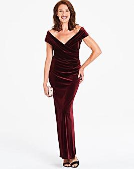 Gina Bacconi Velvet Bardot Maxi Dress