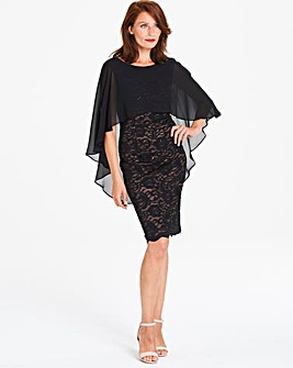 Gina Bacconi Lace Dress with Cape