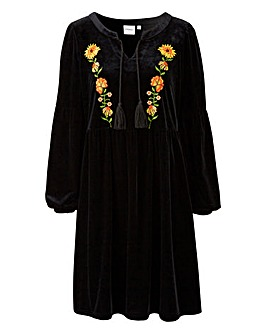 Junarose Velvet Embroidered Smock Dress