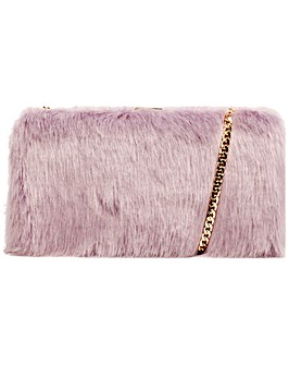 Claudia Canova Faux Fur Clutch Bag & Chain
