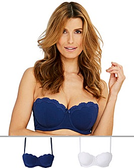 Pretty Secrets 2 Pack Sophie Navy/White Cotton Underwired Multiway Bras