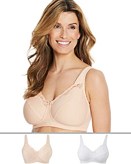 Naturally Close 2Pack Sarah Non Wired Cotton Rich White/Blush Bras