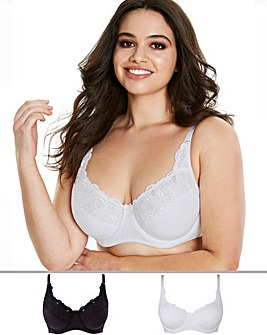 Naturally Close 2 Pack Iris Black/White Embroidered Cotton Rich Full Cup Bras
