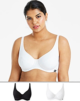 2Pack Slimma Cotton White/Black Bras