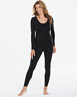 Thermal Black Sparkle Long Sleeve Top