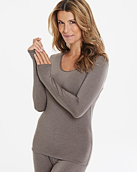 Naturally Close Thermal Grey Marl/Silver Sparkle Long Sleeve Top
