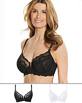 Pretty Secrets 2 Pack Katie Black/White Lace Full Cup Wired Bras