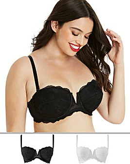 Pretty Secrets 2 Pack Katie Black/White Padded Multiway Wired Bras
