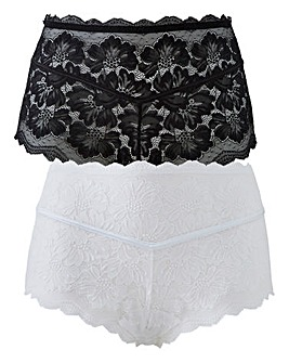 2PK Katie Black/White Lace Midi Shorts