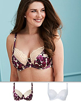Pretty Secrets Laura 2 Pack Rose Print/White Full Cup Wired Bras