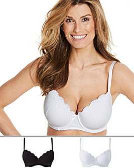 Pretty Secrets 2Pack Sophie Cotton Padded Black/White TShirt Bras