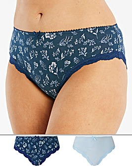2 Pack Sophie Cotton Navy/Blue Briefs