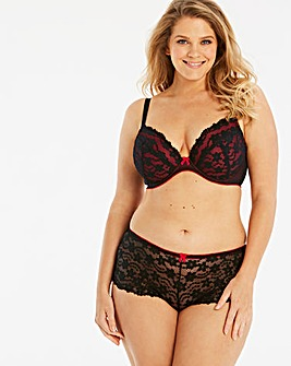 Daisy Lace Black/Red Plunge Wired Bra