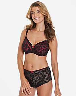 Daisy Lace Black/Red Full Cup Wired Bra