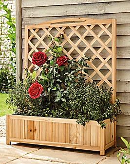 Wide Wooden Trellis Planter