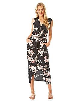 Roman Floral Zip Front Midi Dress