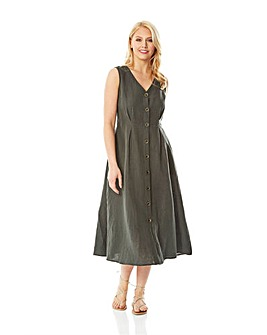 Roman Button Through Linen Midi Dress