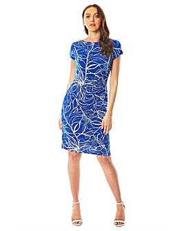 Roman Abstract Puff Print Twist Dress