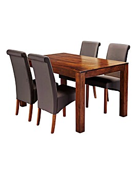 Java Acacia Dining Table with 4 Siena Faux Leather Chairs