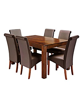 Java Acacia Dining Table with 6 Chairs