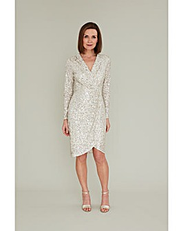 Gina Bacconi Nidia Sequin Wrap Dress