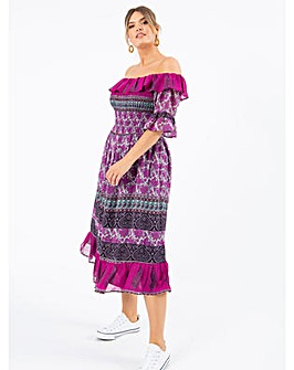 Koko Paisley Bardot Midi Dress
