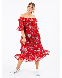 Koko Red Floral Bardot Midi Dress
