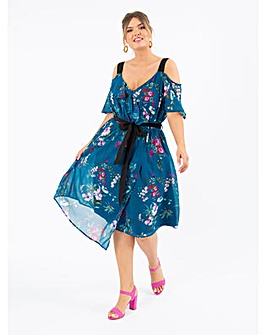 Koko Teal Floral Cold Shoulder Dress