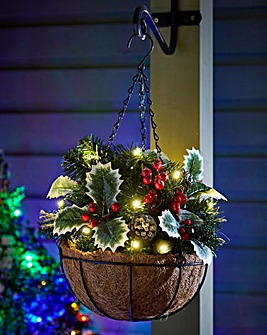 Holly Lit Hanging Basket