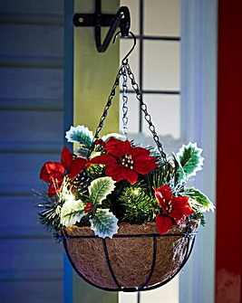 Poinsettia Lit Hanging Basket