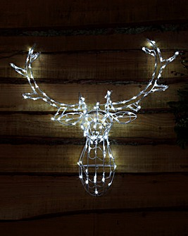 Bright White Stags Head Silhouette Light