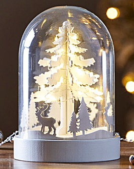 Glass Dome Tree Scene With Copper Lights
