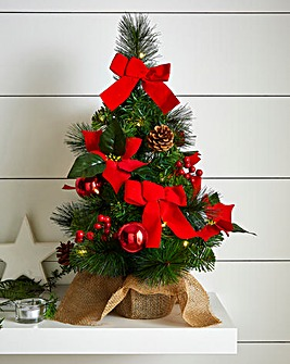 Table Top LED Poinsettia Tree with Burlap Base
