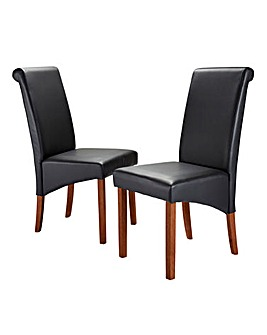 Siena Faux Leather Pair of Dining Chairs