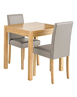 Oakham Oak Square Dining Table and 2 Mia Faux Leather Chairs