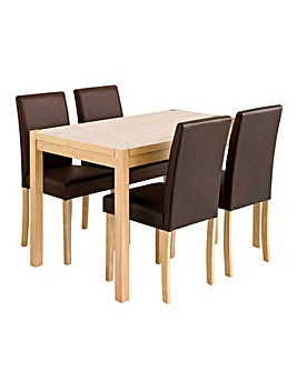 Oakham Oak Rectangular Dining Table and 4 Mia Faux Leather Chairs