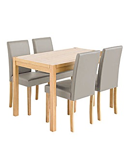 Oakham Table 4 Mia Faux Leather Chairs
