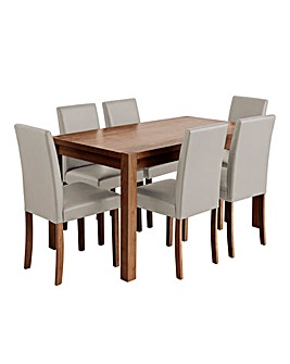 Oakham Table 6 Mia Faux Leather Chairs