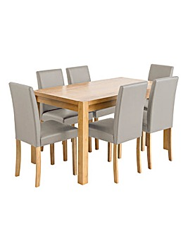 Oakham Oak Rectangular Dining Table and 6 Mia Faux Leather Chairs
