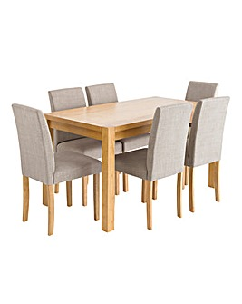 Oakham Table 6 Mia Fabric Chairs