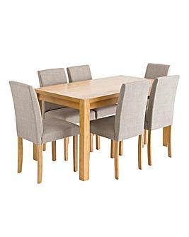 Oakham Oak Veneer Large Rectangular Dining Table and 6 Mia Fabric Chairs