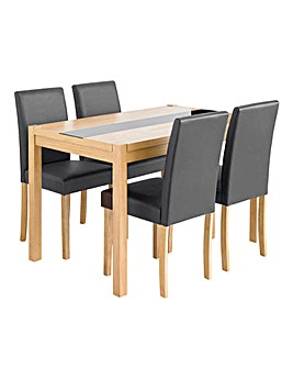 Oakham Panel Table 4 Faux Leather Chairs