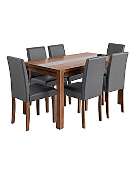 Oakham Glass Panel Table 6 Chairs